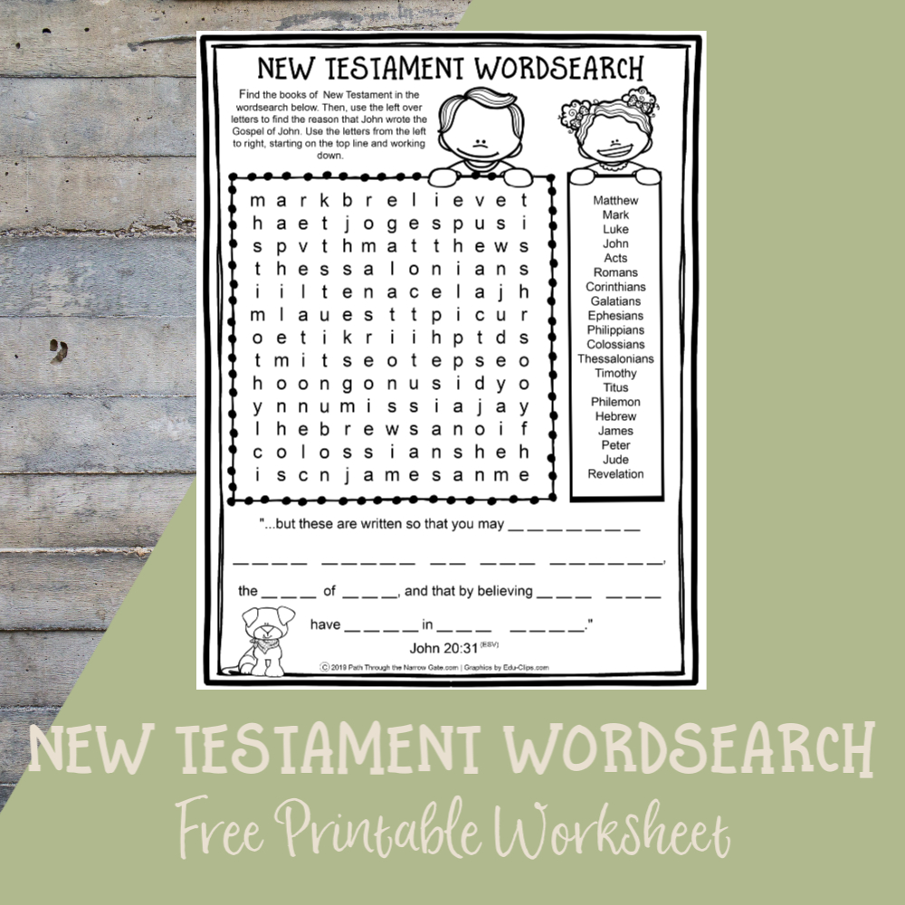 Books Of New Testament Wordsearch - Path Through The Narrow Gate
