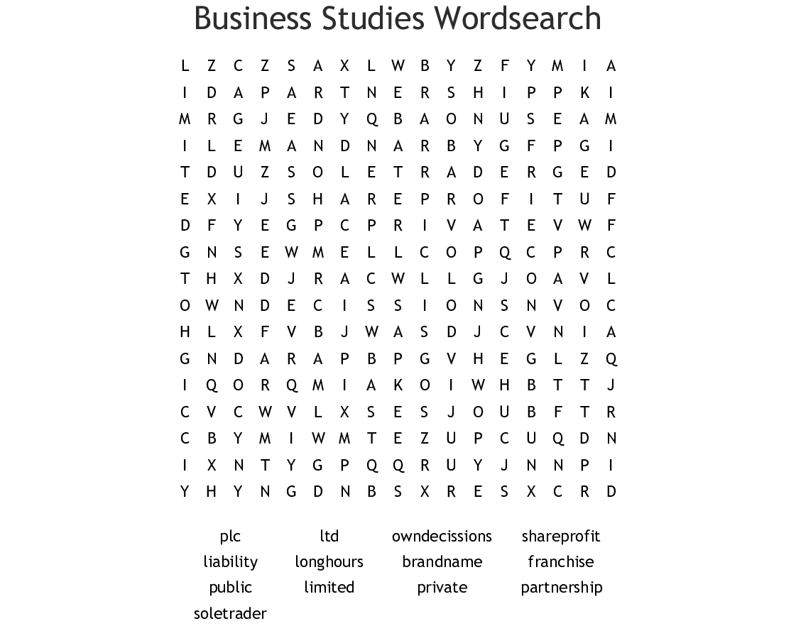 Business Studies Wordsearch - Wordmint