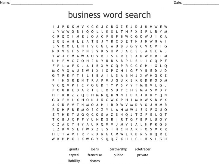 Business Word Search Printables