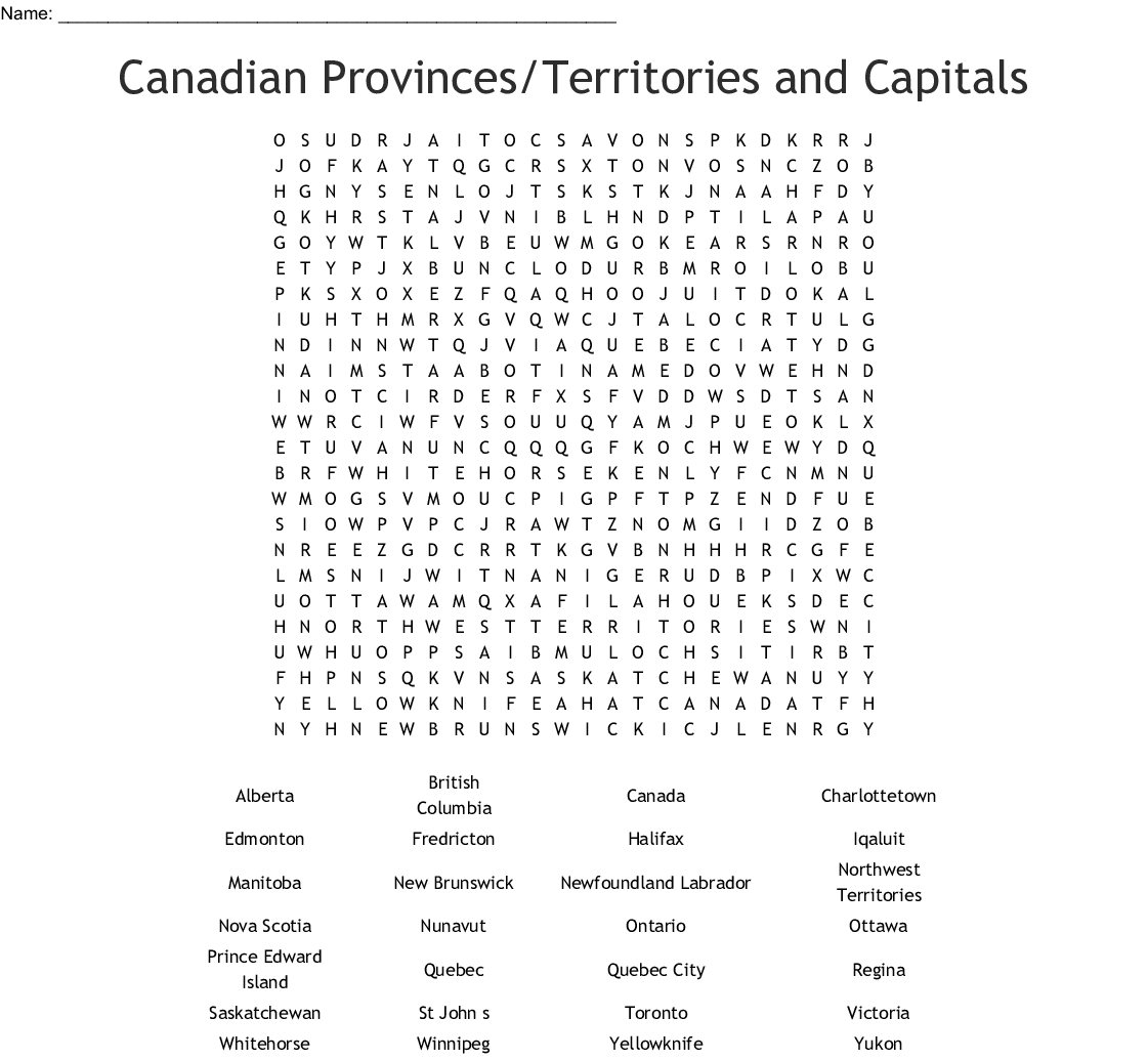 Canadian Provinces/territories And Capitals Word Search