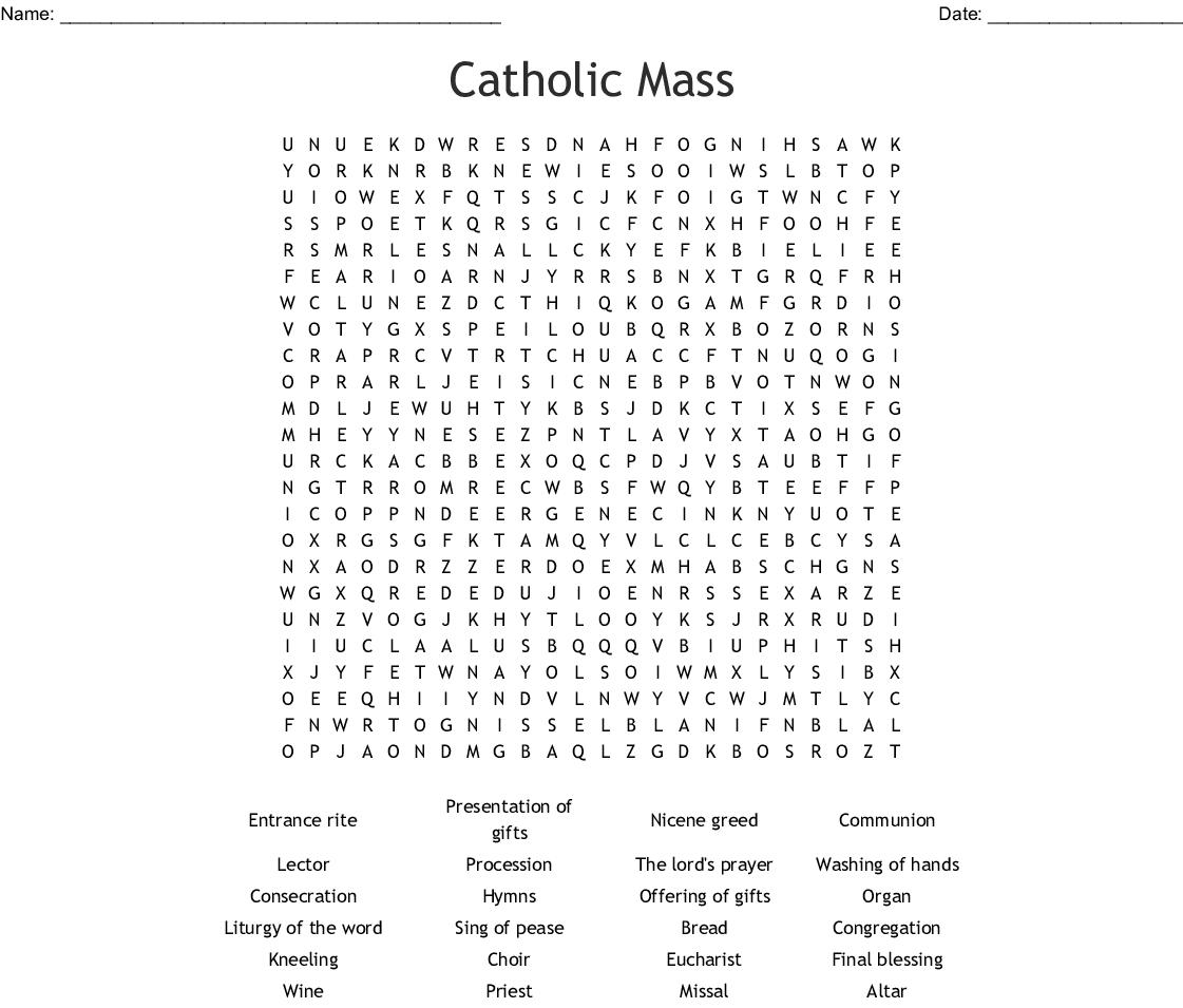 Catholic Mass Word Search - Wordmint