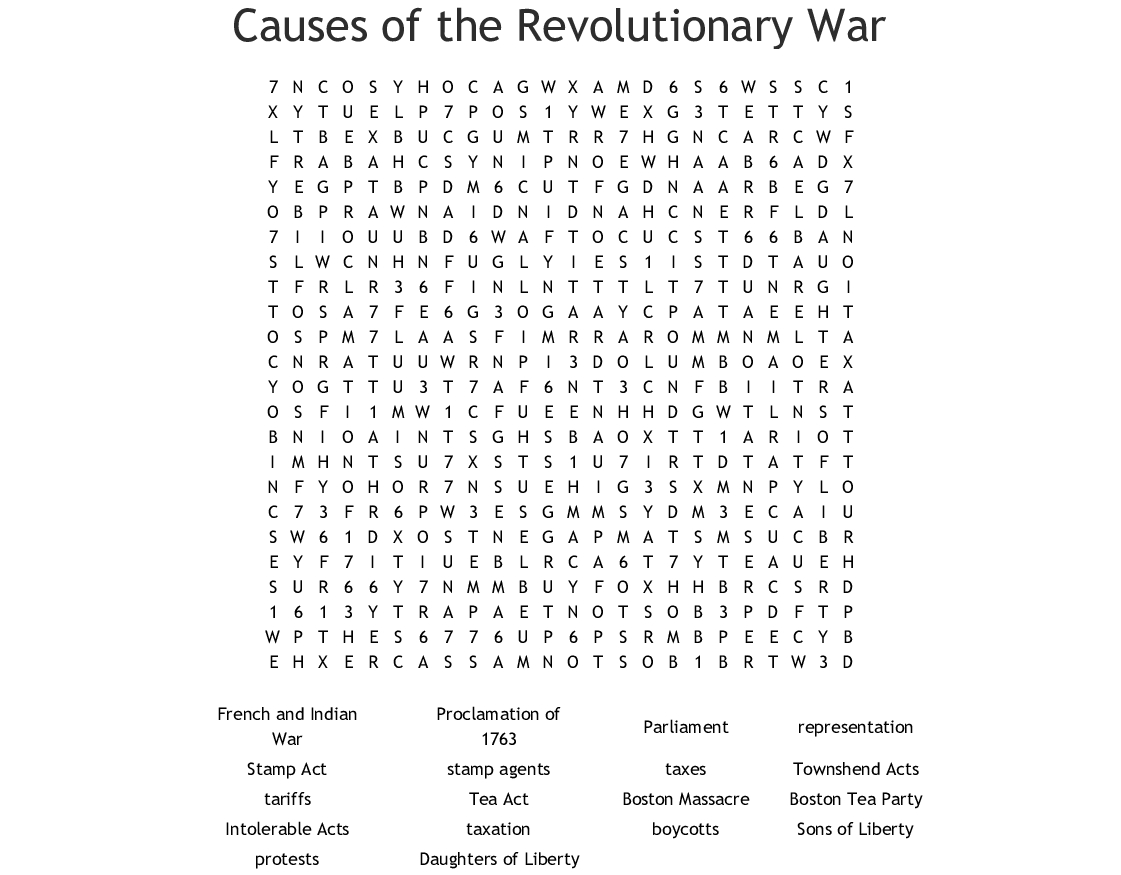 Causes Of The Revolutionary War Word Search - Wordmint