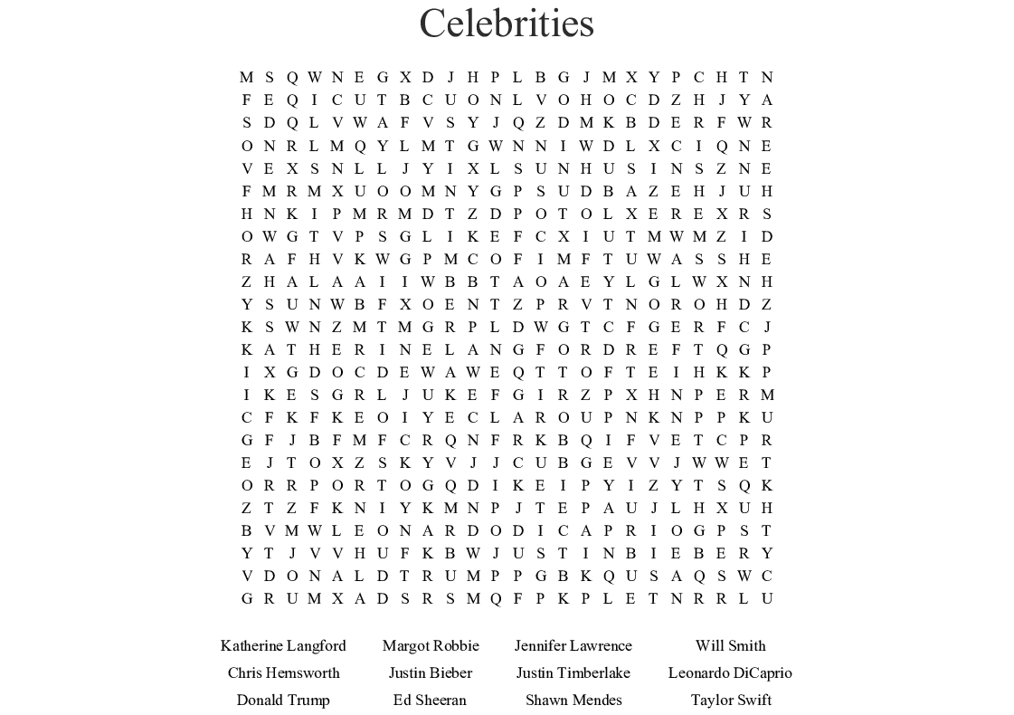 Celebrities Word Search - Wordmint