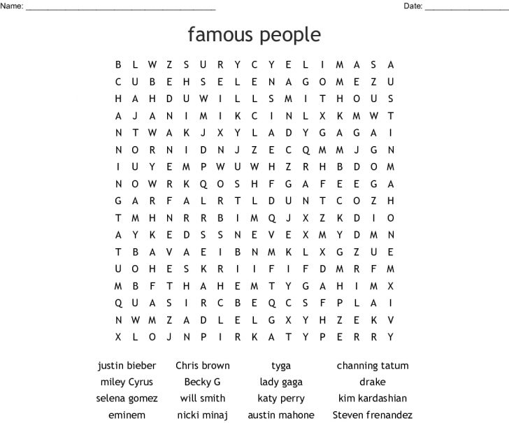 Celebrity Word Search Printable