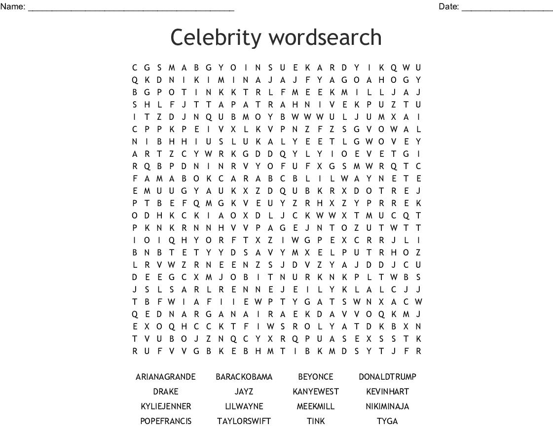 Celebrity Wordsearch - Wordmint