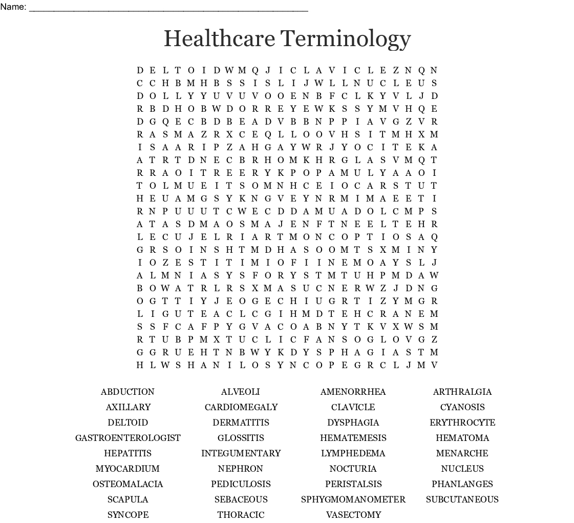 Chapter 1-12 Medical Terminology Word Search - Wordmint
