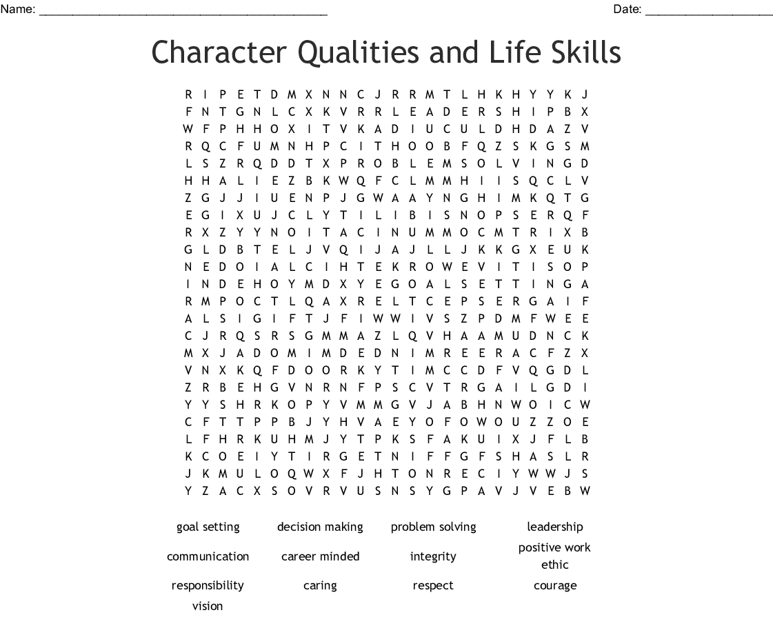 Character Qualities And Life Skills Word Search - Wordmint