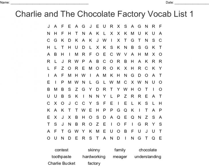 Charlie And The Chocolate Factory Word Search Printable