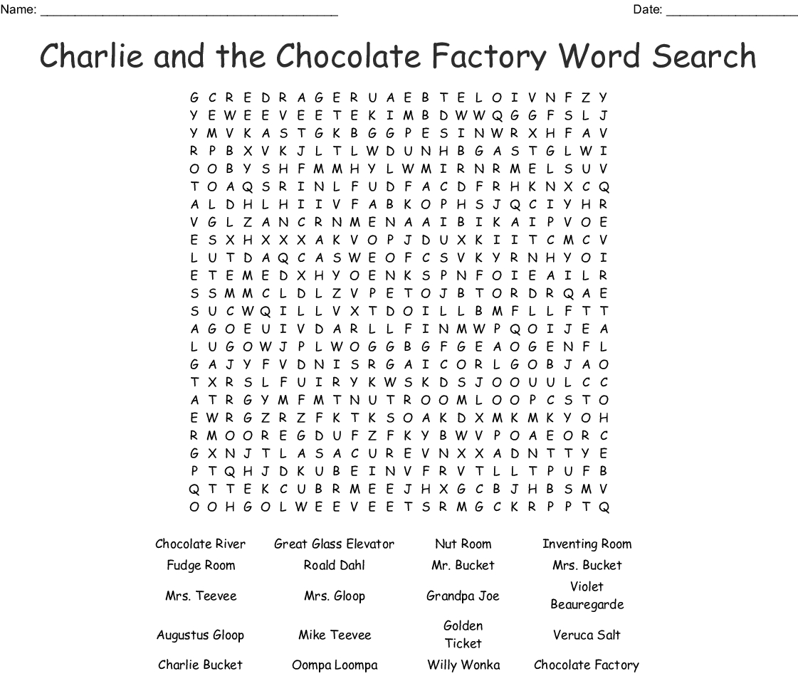 Charlie And The Chocolate Factory Word Search - Wordmint