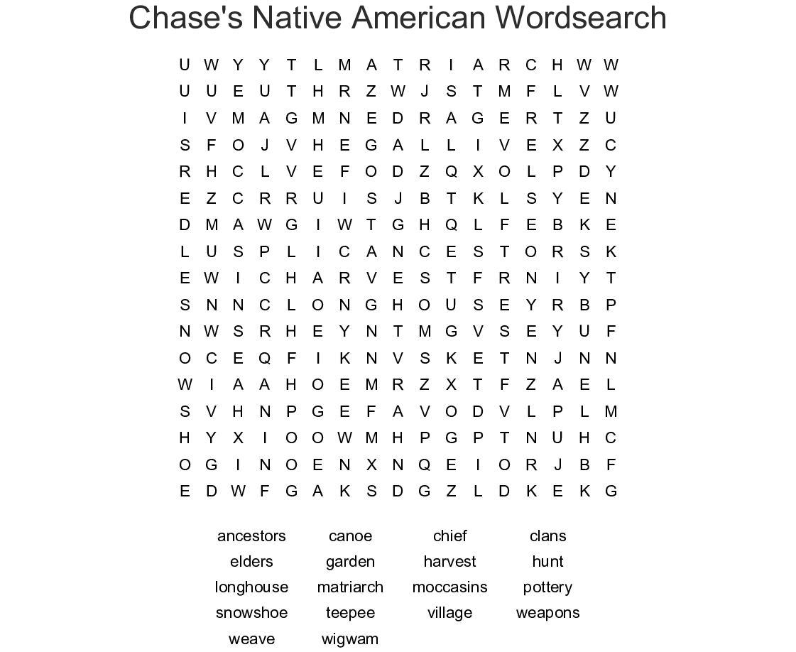 Chase's Native American Wordsearch - Wordmint