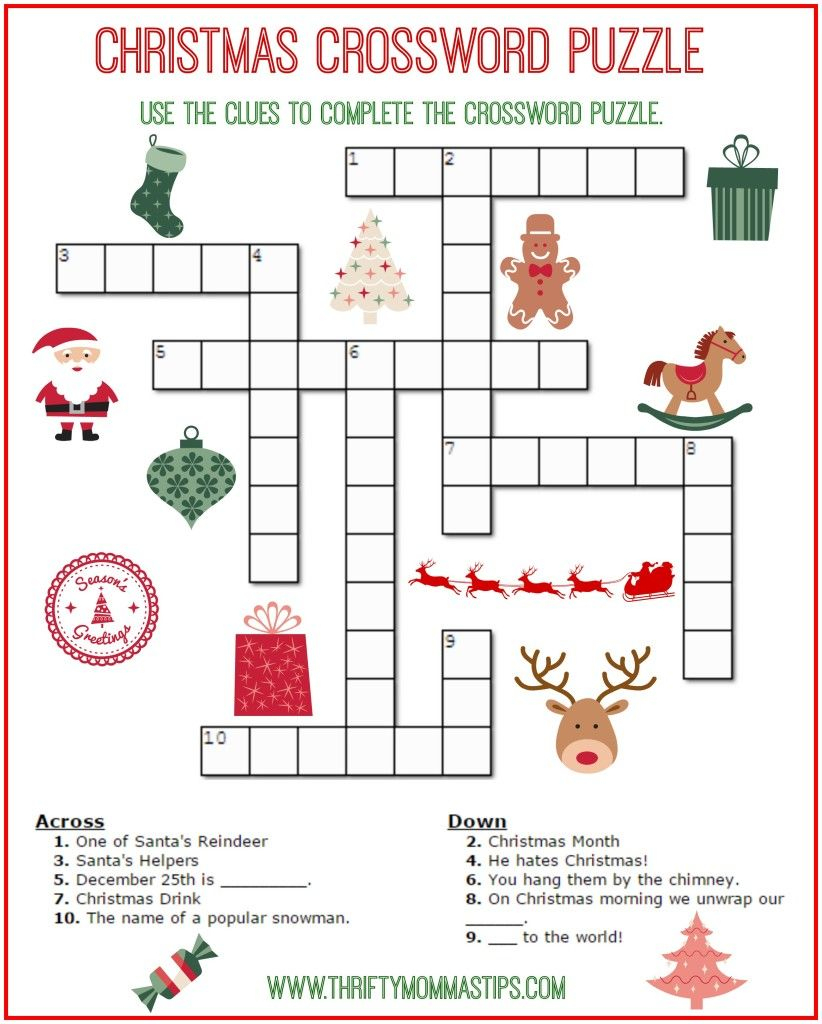 Christmas Crossword Puzzle Printable - Thrifty Momma's Tips