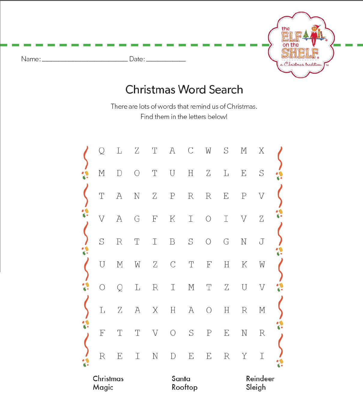 Christmas Elf On The Shelf Word Search | Christmas Coloring