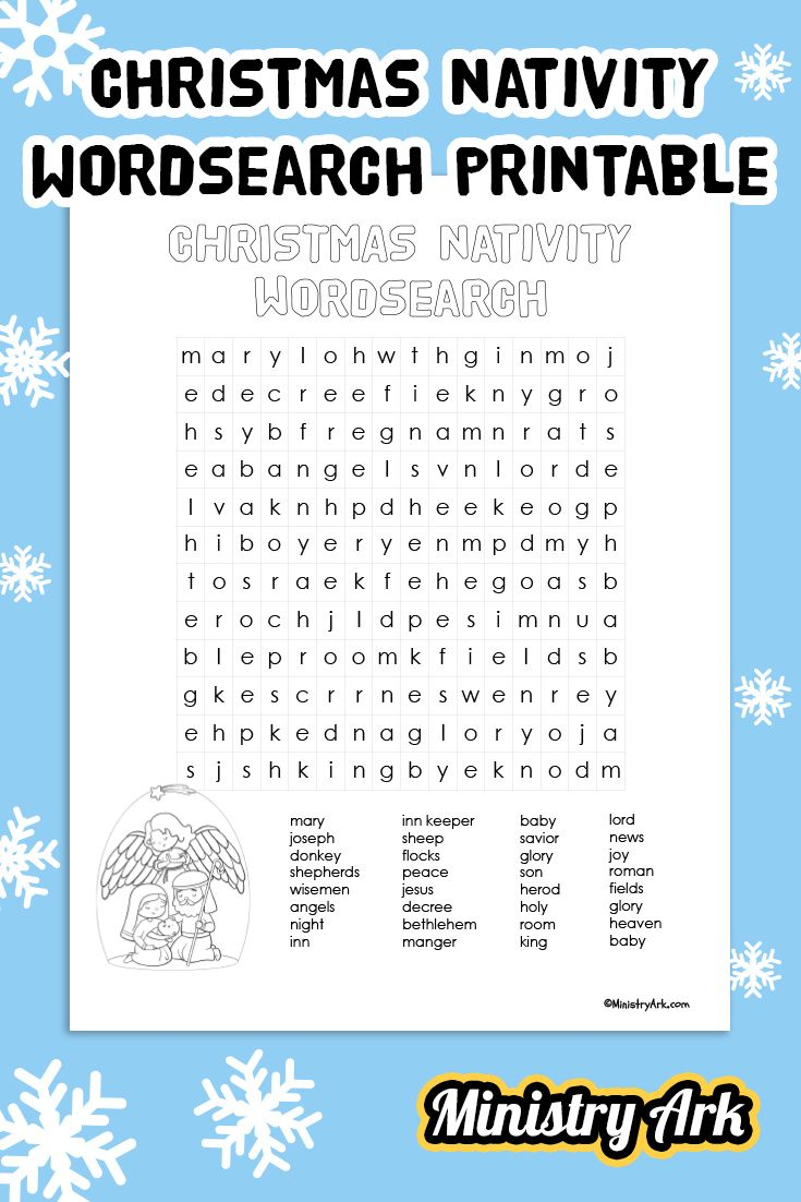 Christmas Nativity Wordsearch' Printable • Ministryark