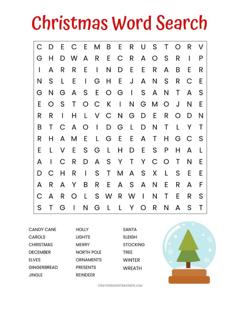Christmas Word Search Free Printable For Kids Or Adults