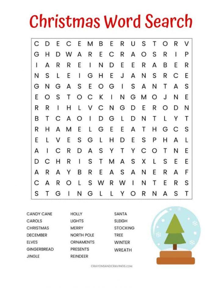Christmas Printable Word Search For Kids