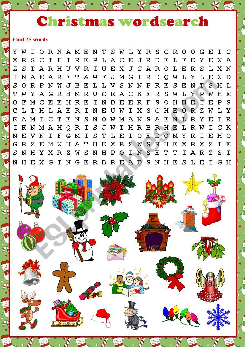 Christmas Wordsearch - Esl Worksheetkosamysh