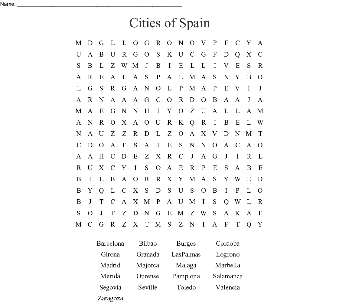 Cities Of Spain Word Search - Wordmint