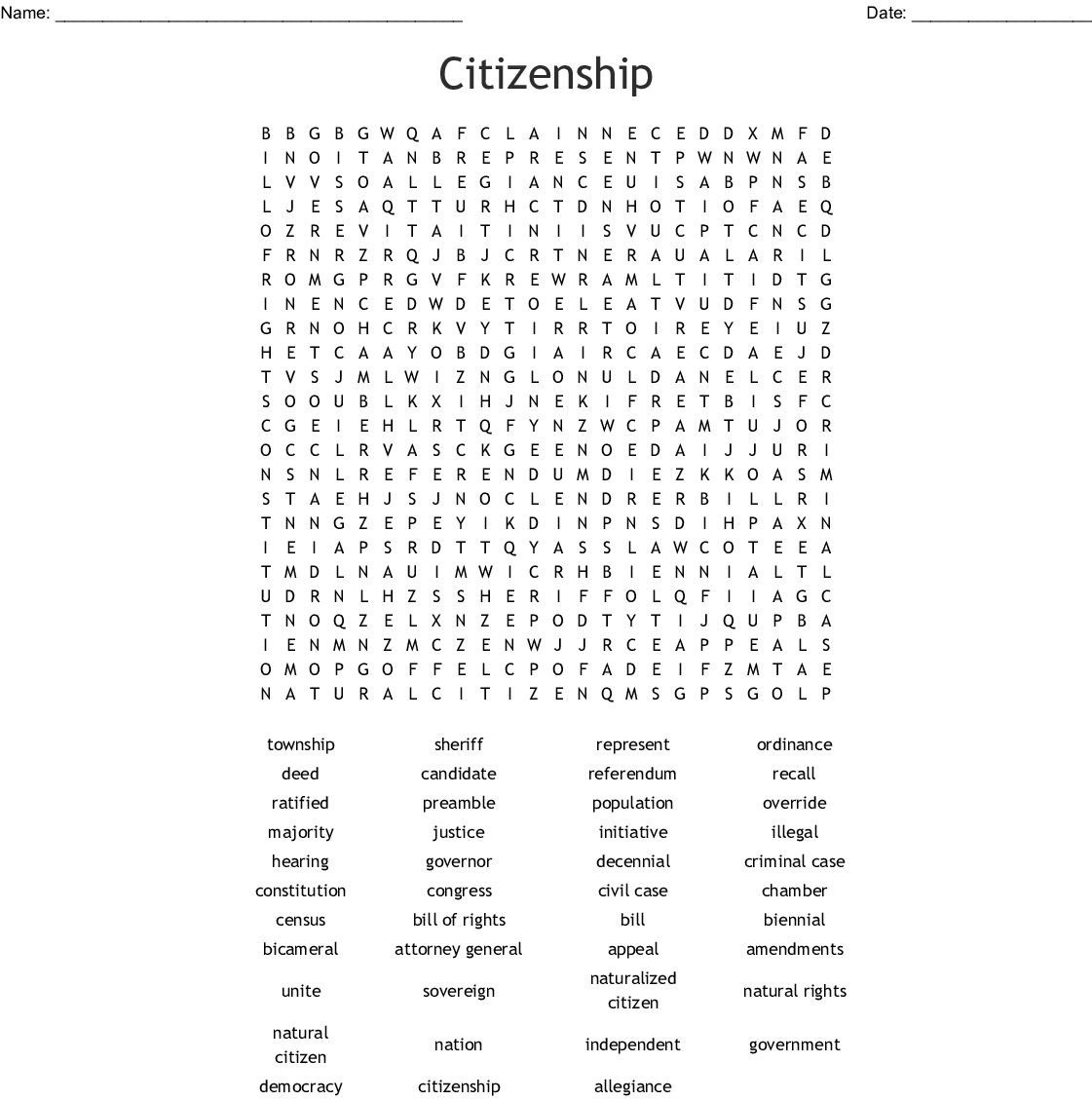 Civics And Citizenship Word Search - Wordmint