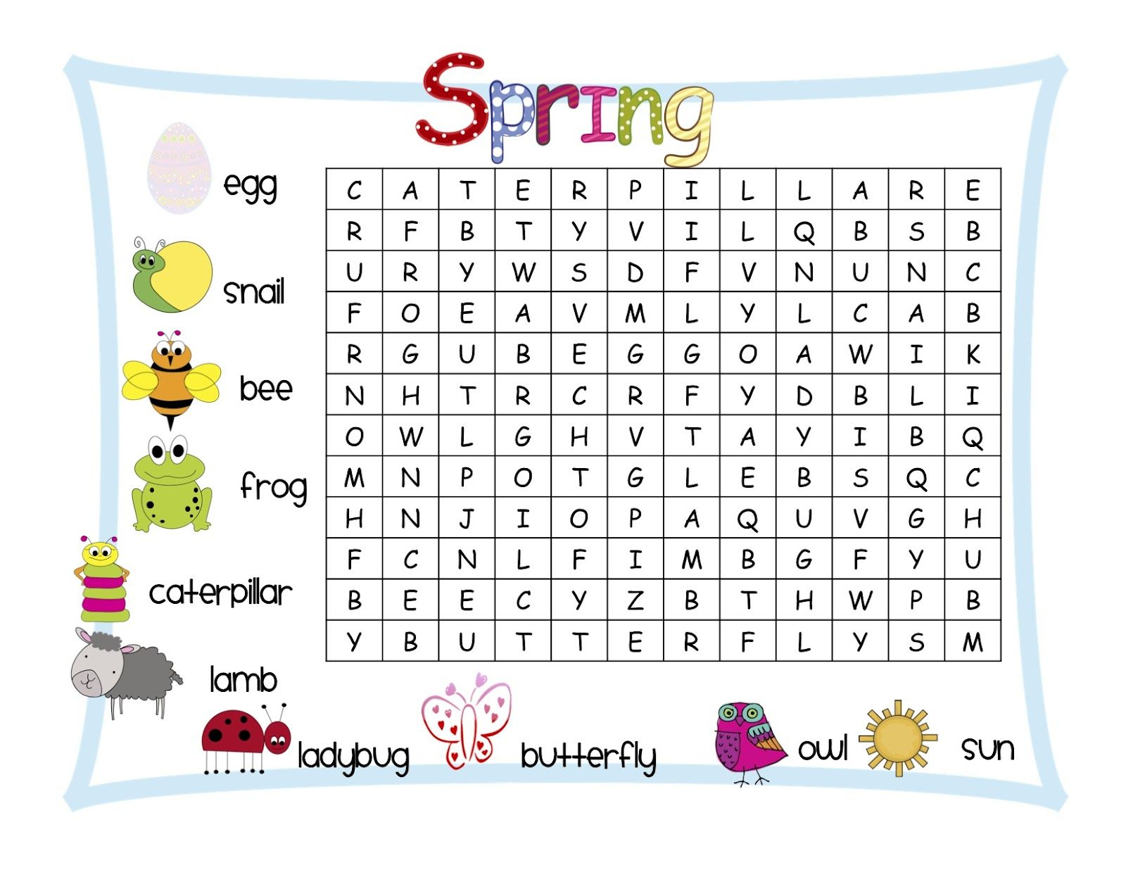 Classroom Freebies: Spring Word Search | Kids Word Search