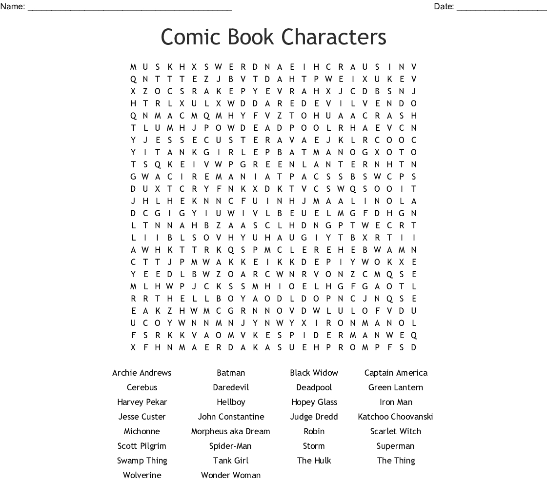 Comic Book Characters Word Search - Wordmint