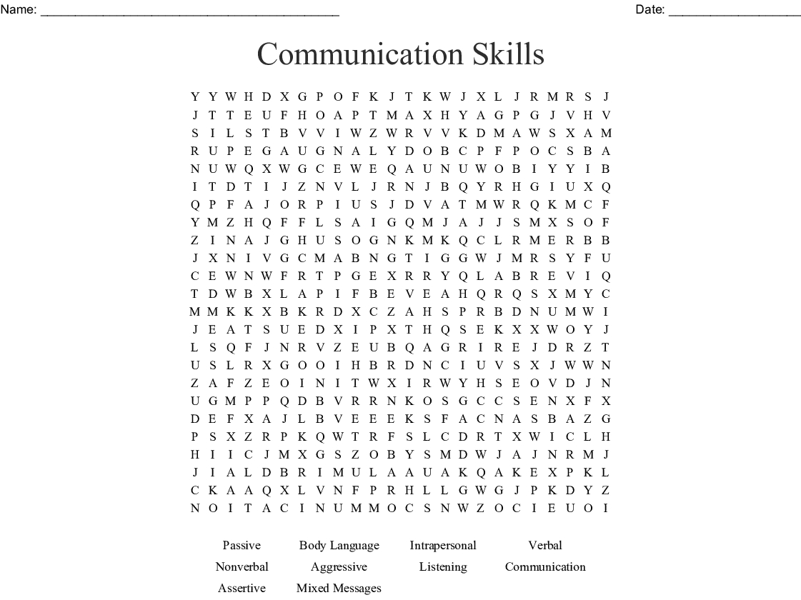 Communication Skills Word Search - Wordmint