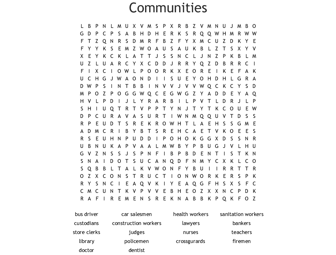 Communities Word Search - Wordmint
