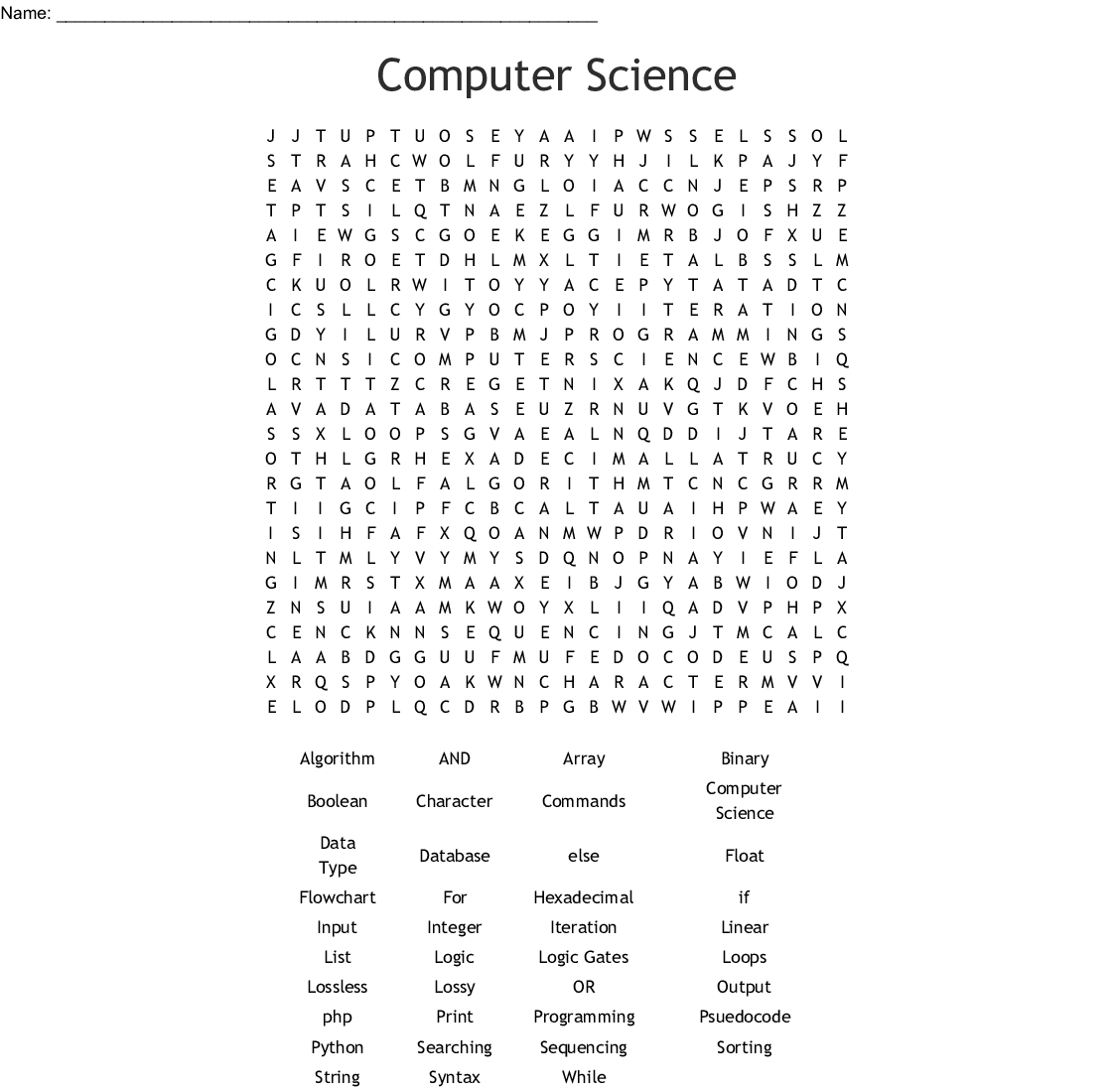 Computer Science Word Search - Wordmint