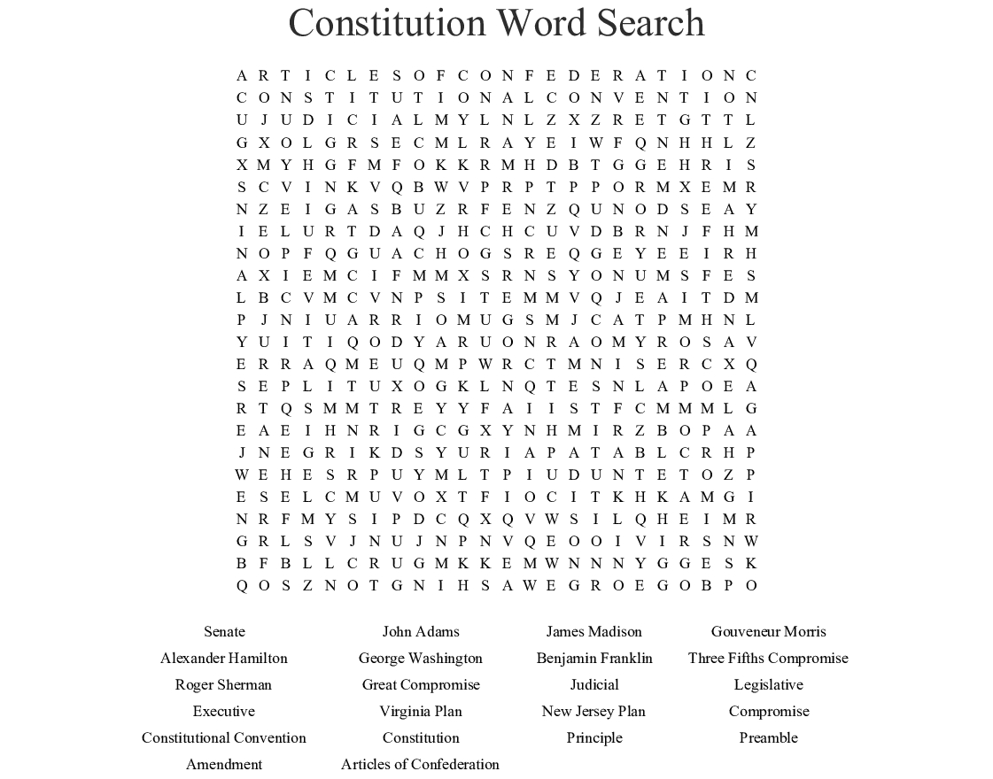 Constitution Word Search - Wordmint