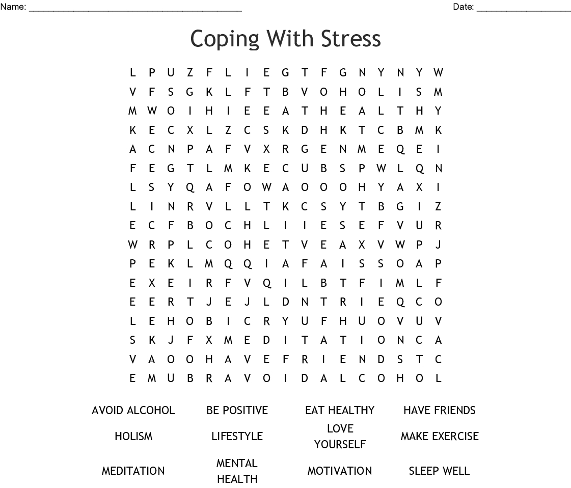 Coping With Stress Word Search - Wordmint