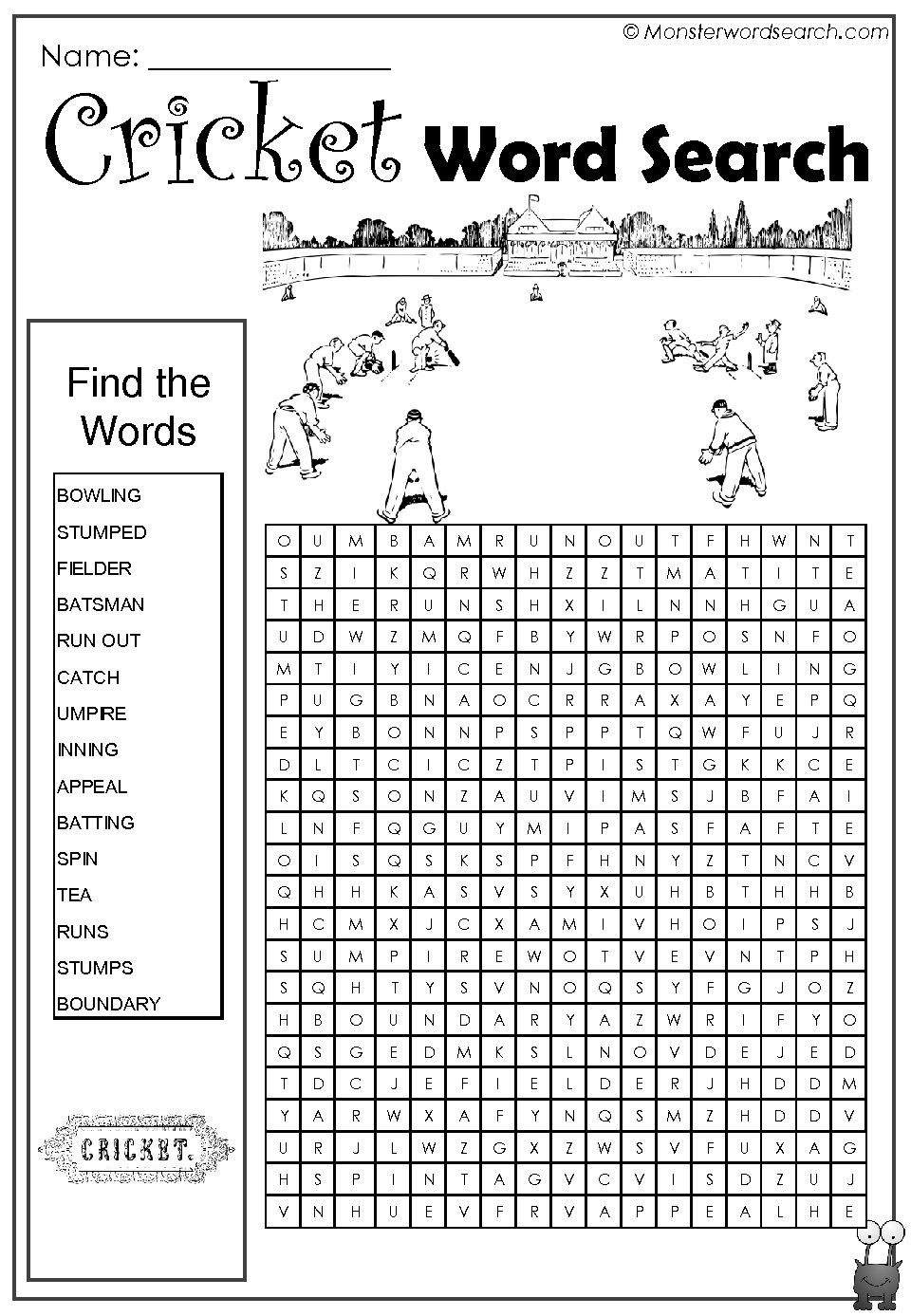 Cricket Word Search | Kids Word Search, Free Printable Word