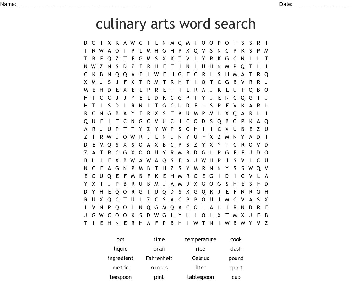 Culinary Arts Word Search - Wordmint