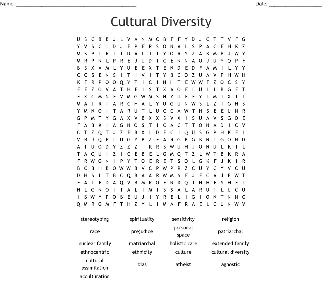 Cultural Diversity Word Search - Wordmint