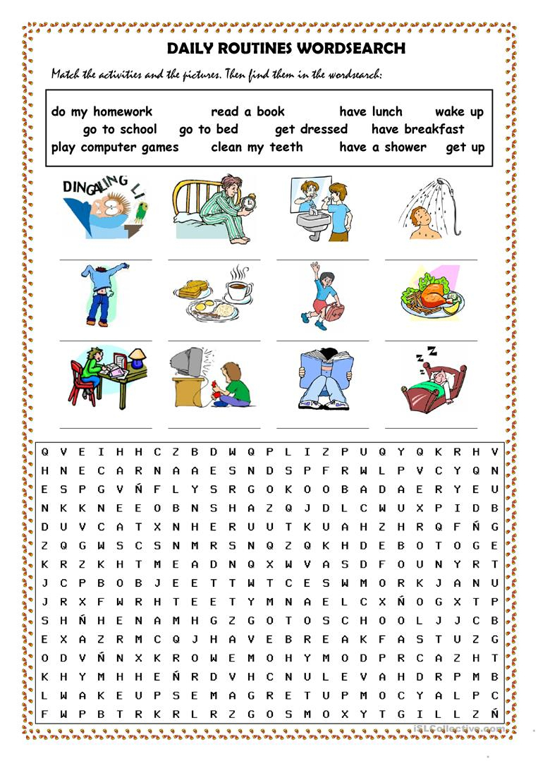 Daily Routines Picture Dictionary And Wordsearch - English