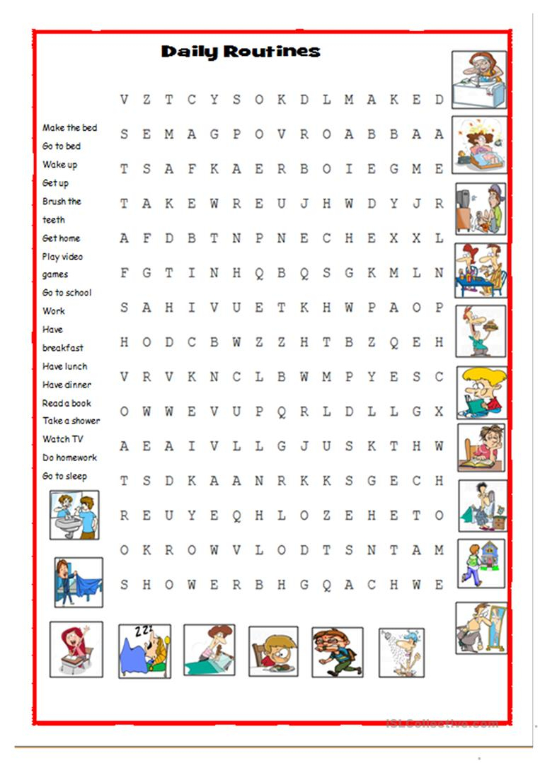 Daily Word Search - English Esl Worksheets For Distance