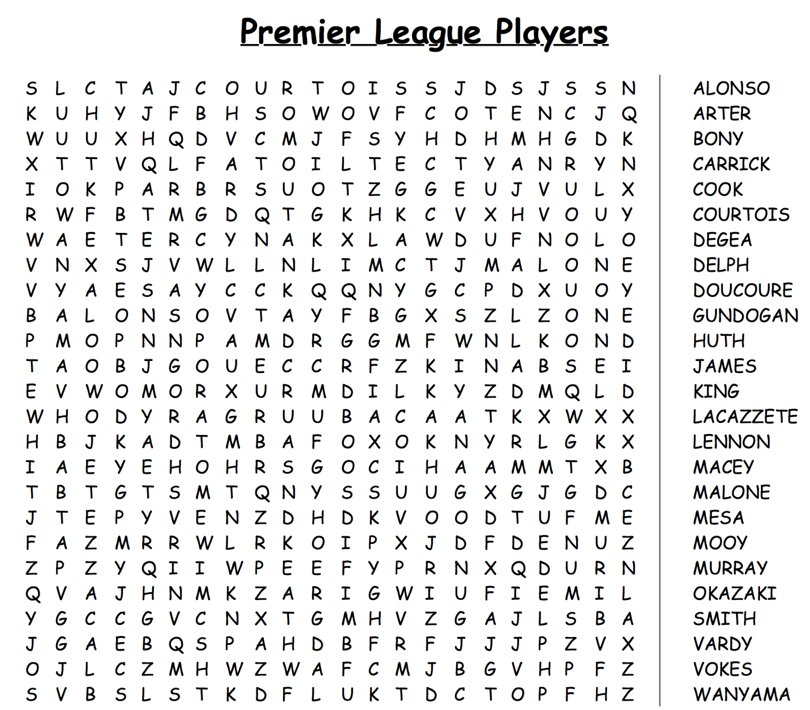 Daily Wordsearches: Word Search 3 - Premier League Players