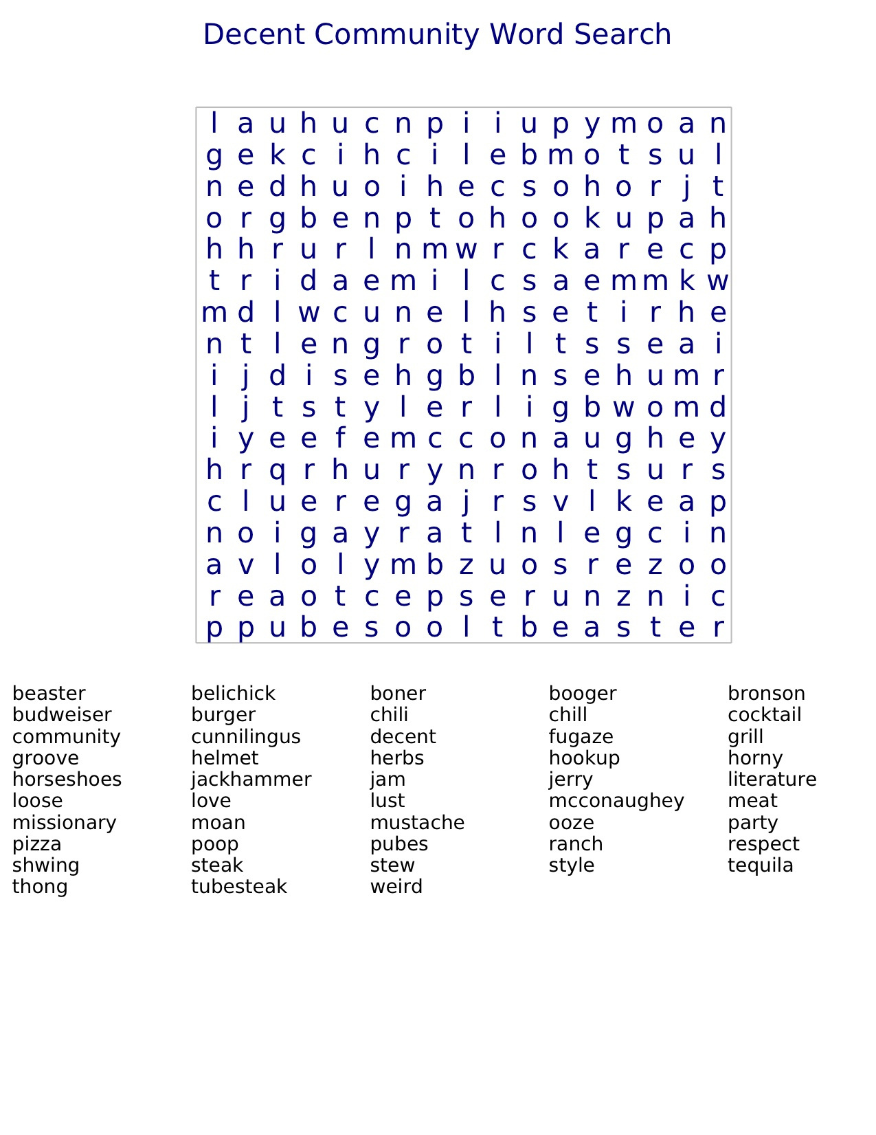 Decent Community Word Search | Decent Community