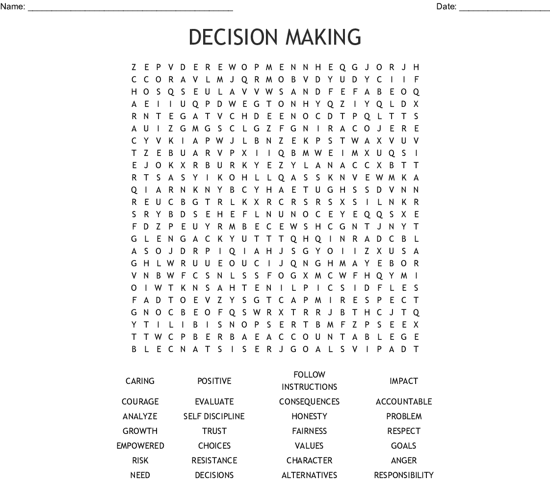 Decision Making Word Search - Wordmint