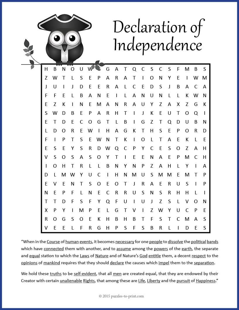 Declaration Of Independence Word Search | 5Th Grade - Social