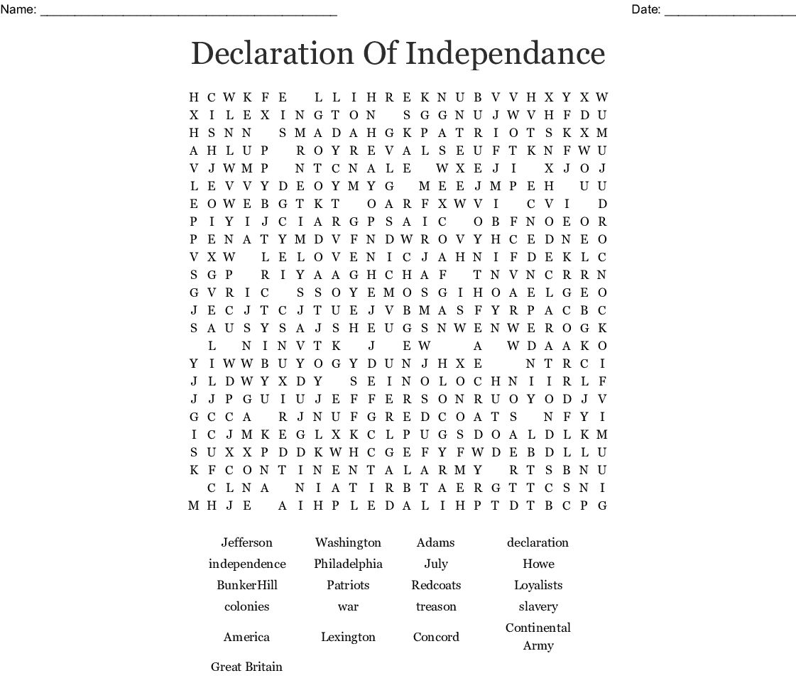 Declaration Of Independence Word Search - Wordmint