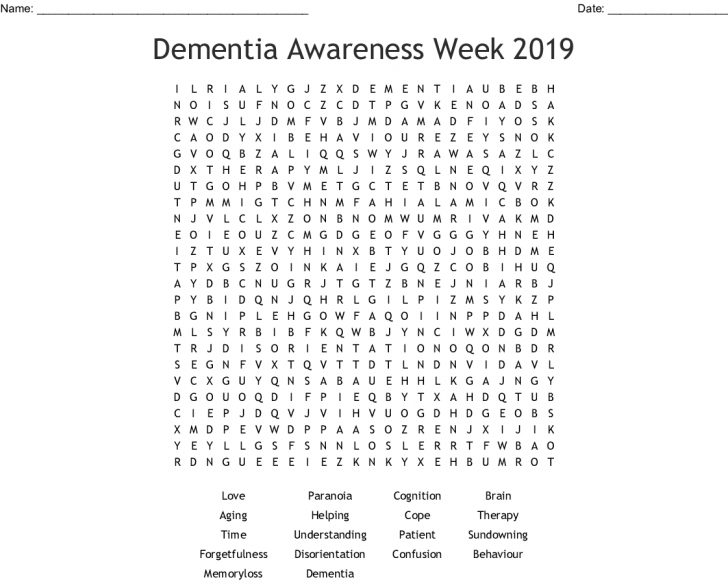 Printable Word Search For Dementia Patients