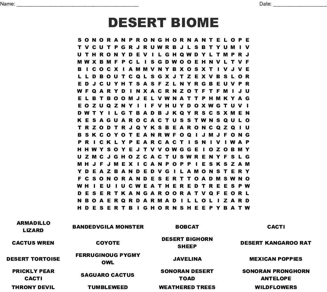 Desert Biome Word Search - Wordmint