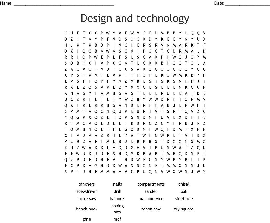 Design And Technology Word Search - Wordmint