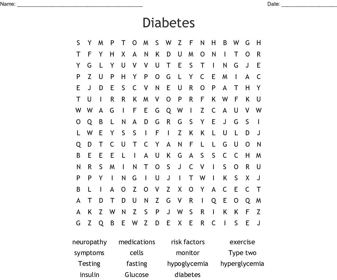 Diabetes Word Search - Wordmint