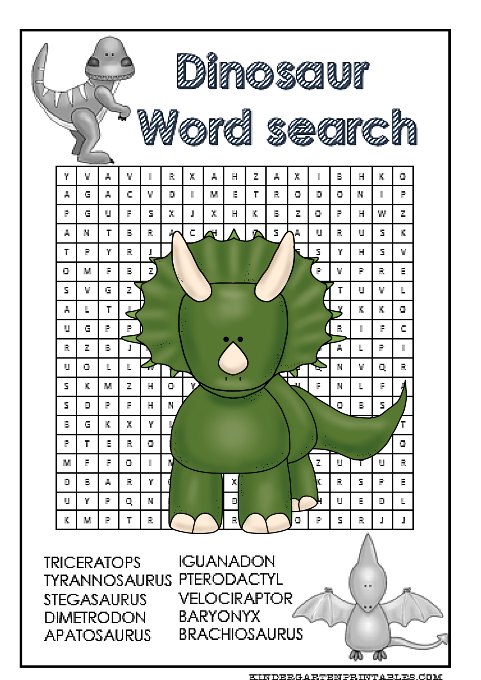 Dinosaur Word Search Free Printable | Dinosaur, Kindergarten