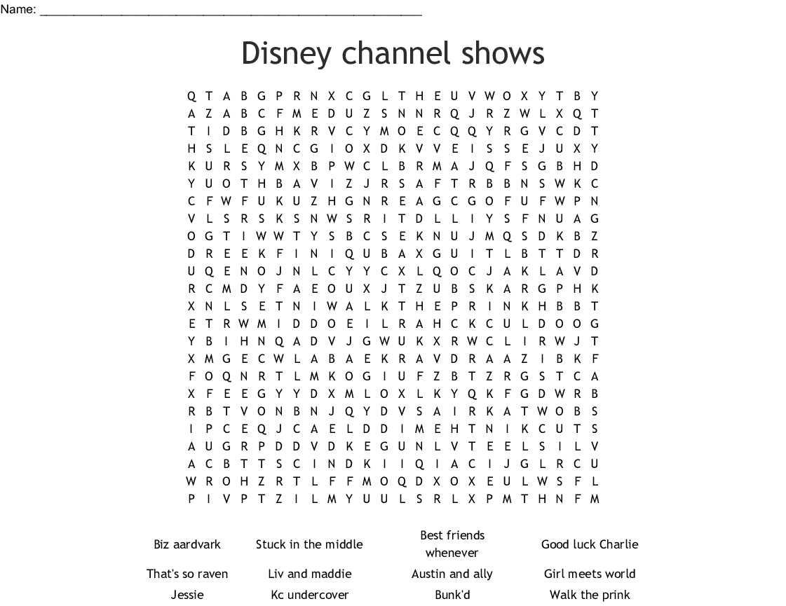 Disney Channel Shows Word Search - Wordmint