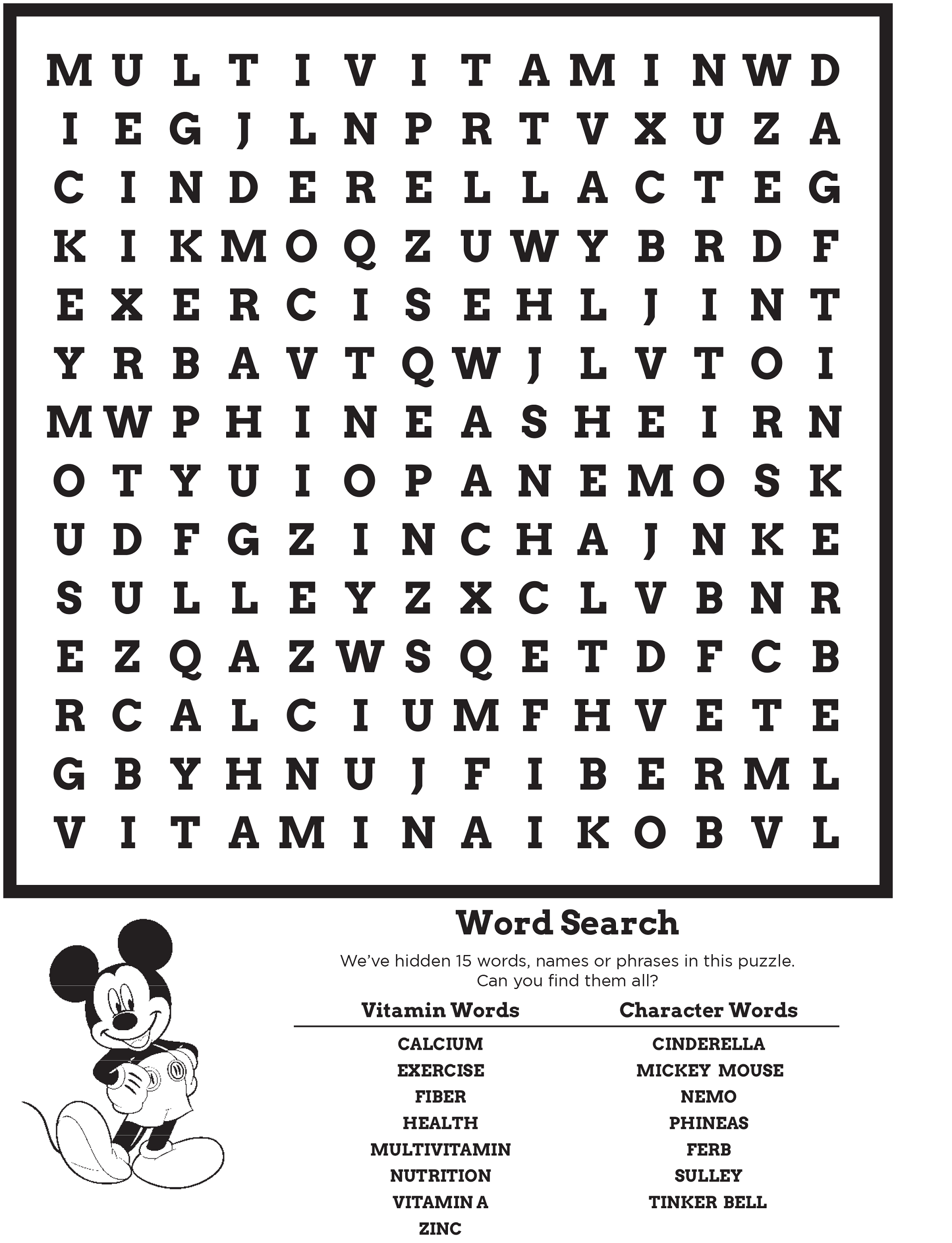 Disney Word Search Puzzles | Activity Shelter