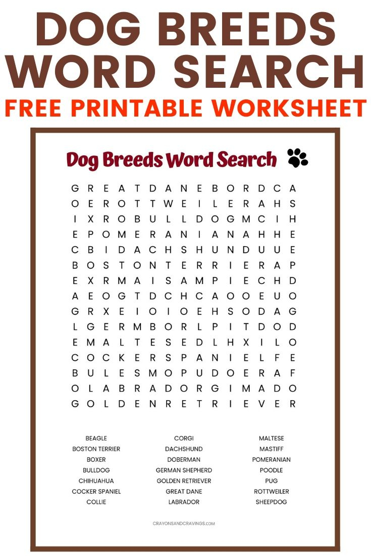 Dog Breeds Word Search {Free Printable!}