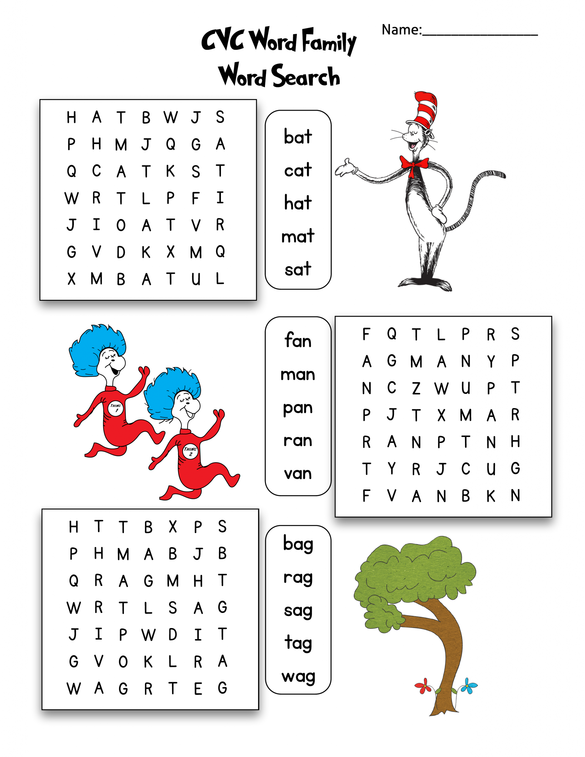 Dr. Seuss Cvc Word Family Word Search | As They Grow Up