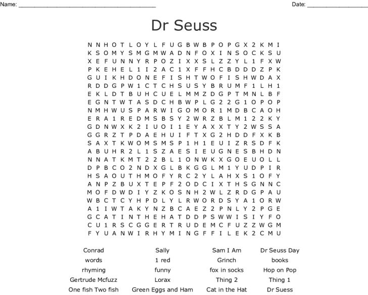 Dr Seuss Word Search Free Printable