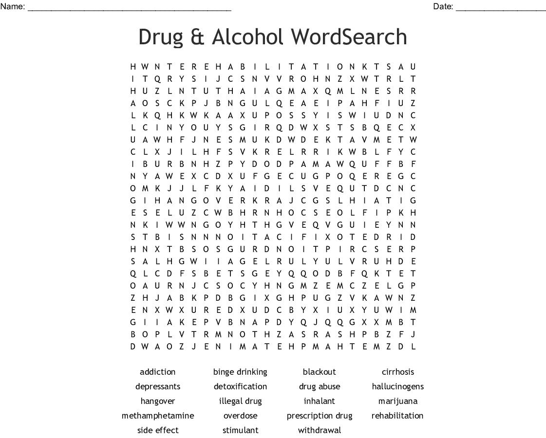 Drug & Alcohol Wordsearch - Wordmint